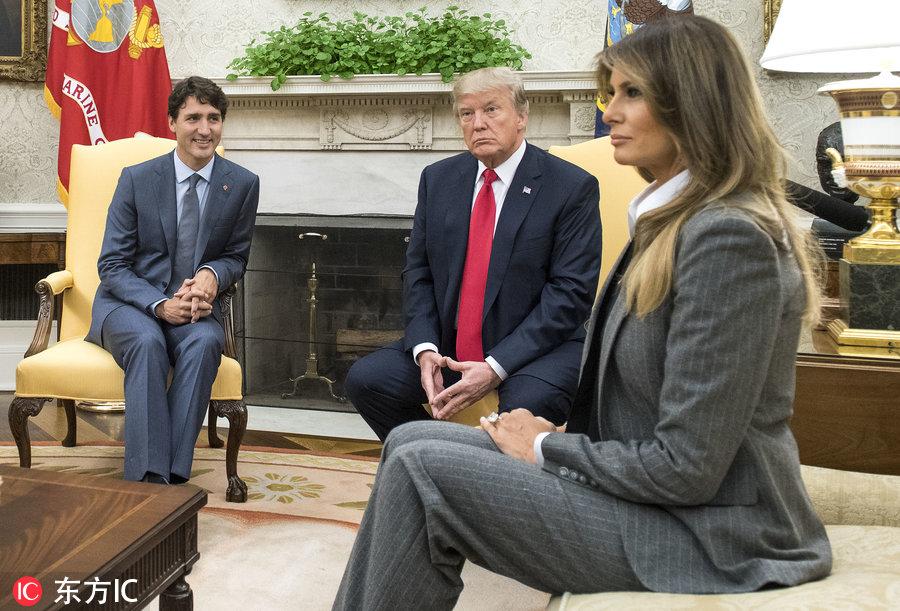 国华盛顿,美国总统特朗普夫妇接待到访的加拿大总理特鲁多夫妇,