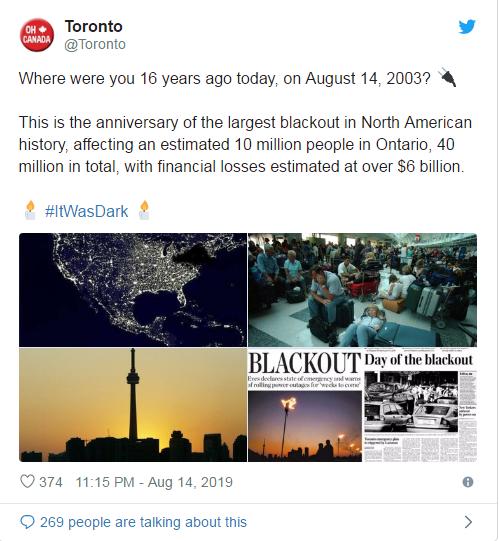 一晃16年 加国东部又瞬间被巨大黑暗笼罩!